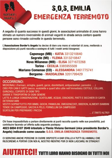 SOS EMILIA – Border's Angels in aiuto!