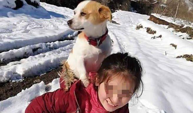 La bimba che salva il cane portandoselo in spalla per chilometri sulla neve